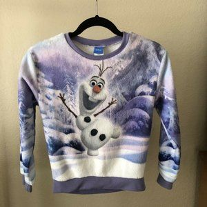Disney Olaf PJ Fleece Sweatshirt M 10-12 Purple